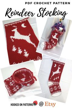 CROCHET Stocking pattern - A detailed reindeer crochet pattern which would be a wonderfully festive item to make up early. Christmas crochet gift ideas from Hooked On Patterns Available at Etsy Crochet Stocking, Crochet Christmas Gifts, Stocking Pattern, Christmas Crochet Patterns, Christmas Hat, Crochet Gifts, Christmas Stockings, Christmas Crafts, Modern Crochet Patterns