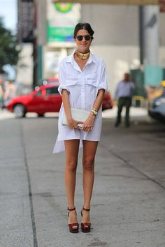 Leandra Medine in Christopher Kane dress | New York Street Style Fashion Week Spring 2014 - New York Fashion Week Spring 2014 - Harper's BAZAAR