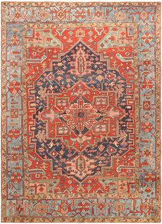 Antique Persian Heriz Rug - Click here to view this absolutely gorgeous antique Persian Heriz rug 47110 from the Nazmiyal Collection in New York City!