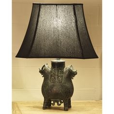 Bronze Vessel Table Lamp With Shade. Lamp BasesAsian StyleFloor ...