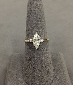 14k Yellow Gold Marquise Diamond Engagement Ring- 100-166 in Jewelry & Watches, Engagement & Wedding, Engagement Rings | eBay