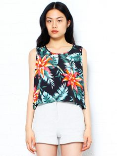 Hawaiian Print Cropped Tank Top by Selects - Glassworks Studios