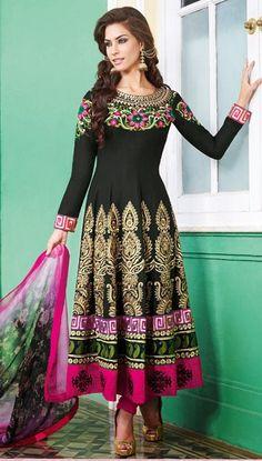 $109.52 Black Cotton A Line Embroidered Anarkali Style Salwar Kameez 25977