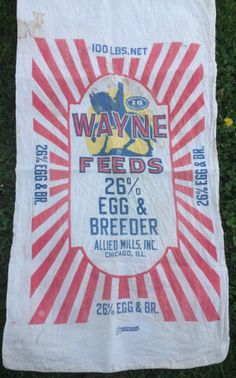 Vintage Chicken Feedsack Cotton Feed Sack Red by AStringorTwo, $22.00