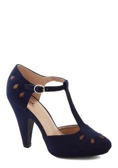 Dynamic Debut Heel in Navy | Heel measures approximately 4.25 inches. Elasticized adjustable ankle strap with buckle closure. Soles have low tread and provide minimal traction. $44.99