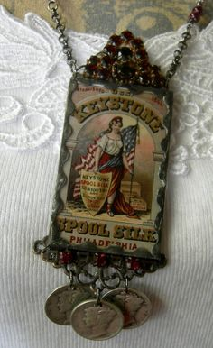 Soldered Glass Assemblage Charm Necklace  Lady by Vintagearts, $110.00
