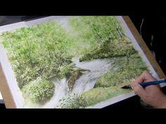水彩画制作過程.14(渓流を描く)ムッチーWATERCOLOR PROCESS-14 - YouTube