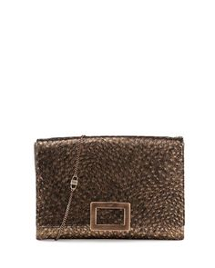 Envelope Soft Clutch Ostrich Embossed Leather Clutch Bag, Gold/Black by Roger Vivier at Neiman Marcus.