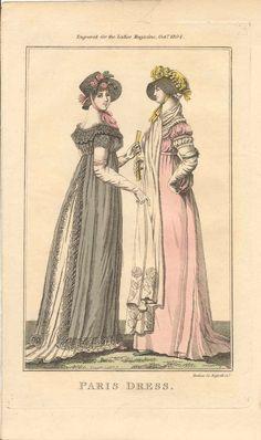 1804 ( 10 ) OCTOBER - LADY'S MAGAZINE - PARIS DRESSES
