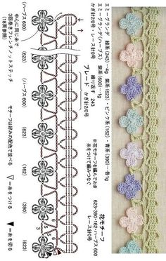 [Crochet edging & braid] 31. 코바늘 엣징 도안 : 네이버 블로그 Crochet Border Patterns, Crochet Lace Edging, Crochet Diagram, Crochet Squares, Crochet Designs, Crochet Flowers, Crochet Stitches, Knitting Patterns, Crochet Decoration
