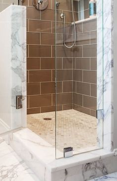 Shower jams and threshold in Calacatta marble. Shower Threshold, Calacatta Marble, Marble Showers, Reno, Countertops, Tile Floor, Bathtub, Design, Counter Tops