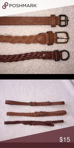 3 skinny brown belts❤️ 2 braided belts and one leather belt. Bundle of 3 for the price of one! 💖 Accessories Belts