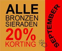 Aanbieding SEPTEMBER! 20% Korting op Alle Bronzen Sieraden