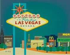 Original Drawing of Las Vegas Strip Nevada   Art by loosepetals, $19.99