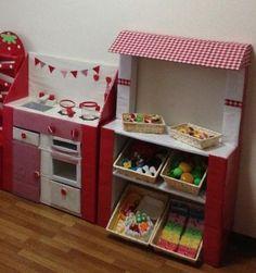 あかねさんのDIY作品 一覧| セルフリフォーム.com Cardboard Kitchen, Cardboard Toys, Cardboard Furniture, Diy Play Kitchen, Kids Patterns, Diy Toys, Toddler Activities, Kids And Parenting, Diy For Kids