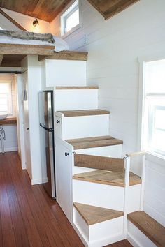 Storage Stairs PLUS wood gate to keep dogs out :) - Modern Farmhouse by Liberation Tiny Homes