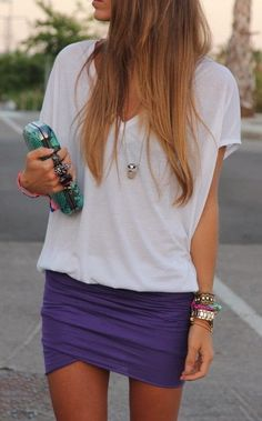 Casual Over Sized T-Shirt With Mini Skirt