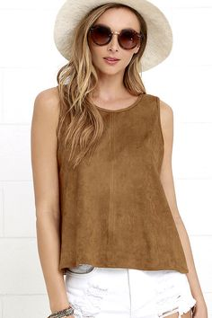 Take the lead in the Texas Two Step Brown Suede Sleeveless Top! This sleeveless top with rounded neckline, and wide-cut bodice, is made from microfiber suede. Texas Two Step, Tunic Tank Tops, Junior Tops, Junior Outfits, Trendy Tops, 1950s Fashion, Cute Shirts, Brown Suede, Cute Dresses