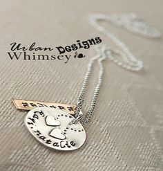 Sterling Silver Mothers Hand Stamped Floating Heart Necklace Stacked w/Brass(FREE SHIPPING)
