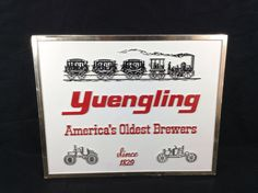 Yuengling Lager Beer Sign Plastic Train Steam Engine Vintage