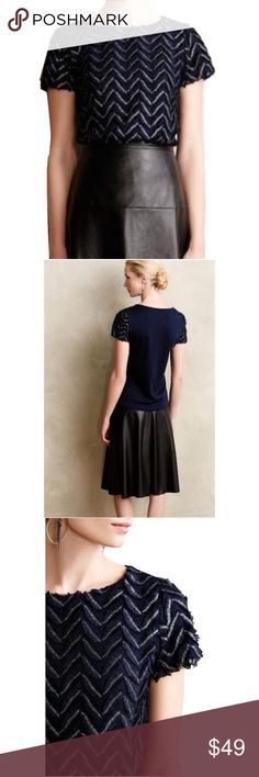 """Weston Wear Anthro Sz S Navy Blue Plume Point Tee Weston Wear Anthro Sz S Navy Blue Plume Point Tee NWOT•By Weston •Textured polyester front; polyester, rayon, spandex back •Feathered embellishments •Pullover styling •Hand wash •USA •22""""L, Bust 32-34"""" •NWOT •Style No. 4112075284955 Anthropologie Tops Blouses"""