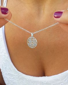 Dainty Necklace - Delicate Monogram Necklace #jewelry #necklace @EtsyMktgTool http://etsy.me/2vHfS3m #monogramnecklace #silvermonogram
