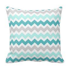 Teal Gray Chevron pillow case decorative throw pillowcase cushion cover #Handmade
