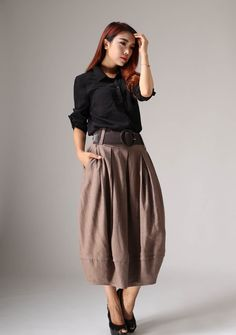 Linen skirt maxi skirt women long skirt 1032 by xiaolizi on Etsy