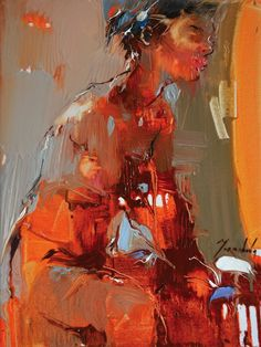 """Girl From A Grocery Shop II"" - Iryna Yermolova, oil on canvas {figurative #expressionist art female seated woman grunge smudged painting drips #loveart} irynayermolova.com"