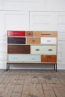"designed by rupert blanchard. ""i collect hundreds of drawers, doors, fittings and fixtures before finding the right combination to construct a new piece. i only use broken, discarded and odd drawers. Repurposed Furniture, New Furniture, Painted Furniture, Furniture Design, Recycled Dresser, Upcycled Cabinet, Homemade Furniture, Victorian Furniture, Modular Furniture"