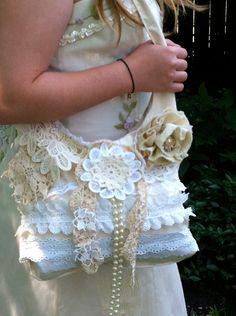 Shabby Chic Cream Ecru Vintage Lace Purse Bag Pearls Doilies Muslin Linen Cotton White Bridal Wedding Beach Brooch Ruffles Ribbons Bows.