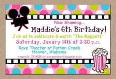 Movie Theater Birthday Invitations
