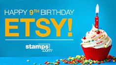 Online Postage, Buy Stamps, 9th Birthday, Birthday Candles, Happy, Prints, Etsy, 9 Year Anniversary, 9th Anniversary
