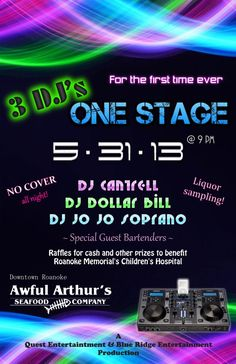 TONIGHT~~~ AWFUL ARTHUR'S DH SHOWCASE~BENEFITS CARILION CLINIC CHILDREN'S HOSPITAL~~~ITS FOR THE KIDS~~~NO COVER~~~FREE TASTINGS~~RAFFLES AND PRIZES~DJ $ Bill, DJ CANTRELL and DJ JoJo Soprano will be taking the stage at Awful Arthurs Downtown, Friday May 31st to bring you a showcase of sorts of their style and skill while also providing a LIVE 3 DJ mixing session to keep the party going all night long.