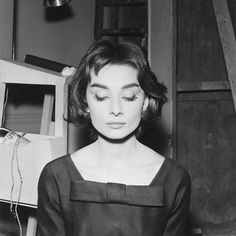 Audrey Hepburn during the filming of Billy Wilder's 'Love in the Afternoon'.  Dress: Givenchy.