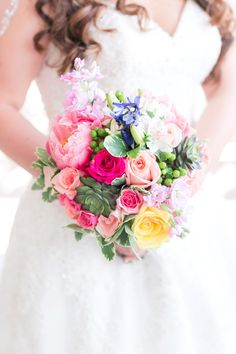 Pink Peony, Rose and Succulent Bridal Bouquet