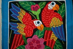 Kuna Cuna Mola Applique Macaw Parrot Colorful Art Handsewn Quilting Superb Work. Collected in the field asmatcollection on ebay.com and bonanza.com cheetahdmr@aol.com if you have any questions.