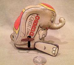 1940's - Marx Walt Disney Dumbo Tin Litho Wind-Up Toy Rare