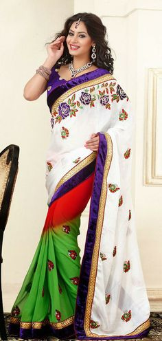 USD 95.24 White and Green Embroidered Faux Georgette Party Wear Saree 27868