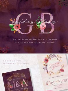 Golden Bloom is watercolor & ink hand painted set. Stylish watercolor monograms are suitable for branding and wedding designs. It looks rich and exquisite. #watercolor #wedding #weddingcards #graphicdesign #inkdrawing https://www.templatemonster.com/bundles/golden-bloom-monogram-set-bundle-68529.html