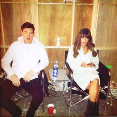 Cory Monteith and Lea Michele in between filming a Finchel scene for the Valentines Day Episode of Glee!! So excited! Tweeted by Director Brad Falchuk