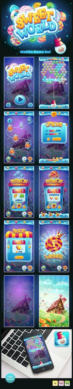 Sweet world candy shooter mobile GUI on Behance