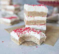 Chai spiced sugar cookie bars with cream cheese frosting are an easy and delicious Christmas cookie you'll want to bake all winter long. Add some spice to your Christmas cookie trays with these beauties! recipe via itsybitsykitchen.com #sugarcookies #chaispice #cookiebars