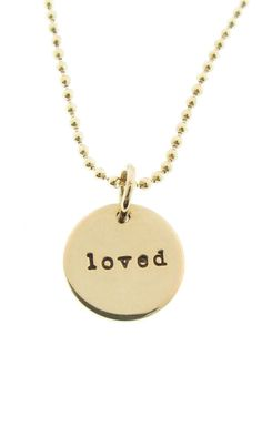 14K Gold Loved Charm Necklace 1/2 Solid Gold