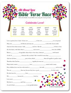 Printable All About Love Bible Verse Race - Funsational.com