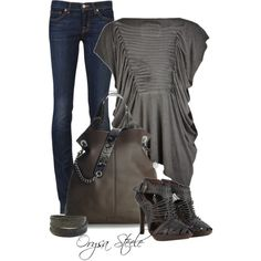 """Grey and Khaki"" by orysa on Polyvore"