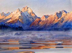 Teton Morning: Original watercolor painting fine art of Jackson Lake and the Tetons landscape by David Drummond