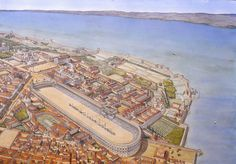 The Imperial Palace of Constantinople by Jean-Claude Golvin Ancient Greek City, Ancient Rome, Historical Architecture, Ancient Architecture, Rome Antique, Empire Romain, Roman City, Fantasy City, Fortification