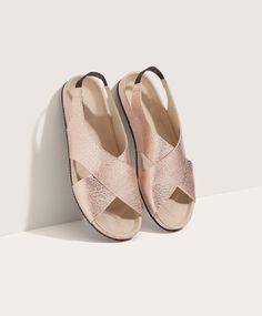 Oysho - Cracked slide sandals with crossed straps