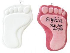 Personalised pottery ceramic hanging footprint.